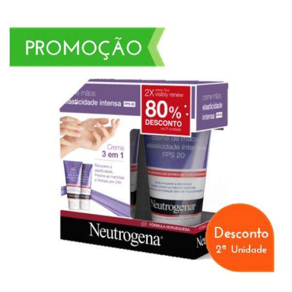 Neutrogena Visibly Renew Creme de Măos Elasticidade Intensa SPF20 2 x 75 ml com Desconto de 80% 2Ş Embalagem