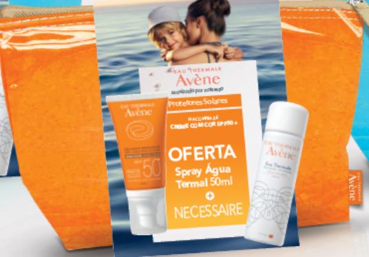 Avene Creme Solar com Cor SPF50+ OFERTA Agua termal 50 ml + Necessaire