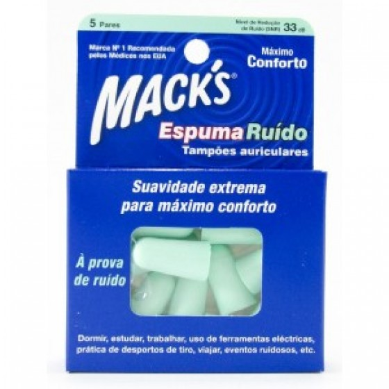 Mack's Tampões Auriculares Espuma Ruído X10