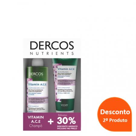 Dercos Nutrients Pack Promocional  Vitamin A.C.E Champô Iluminador +Balsamo 30% Desconto