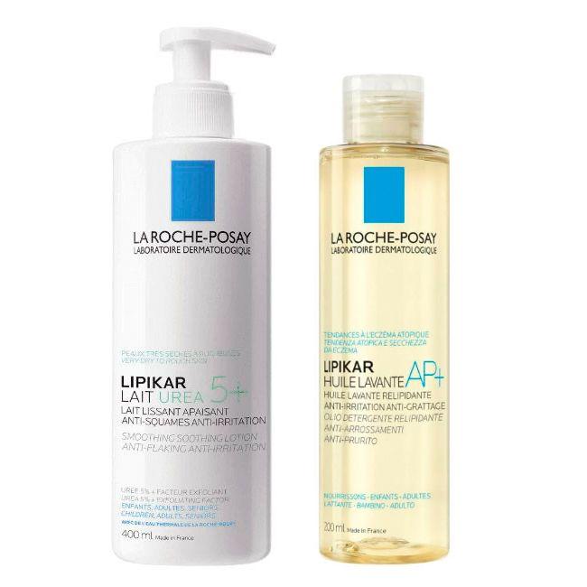 La Roche-Posay Lipikar Leite Urea 5+ suavizante 400 ml + OFERTA  Óleo lavante AP+ 200 ml