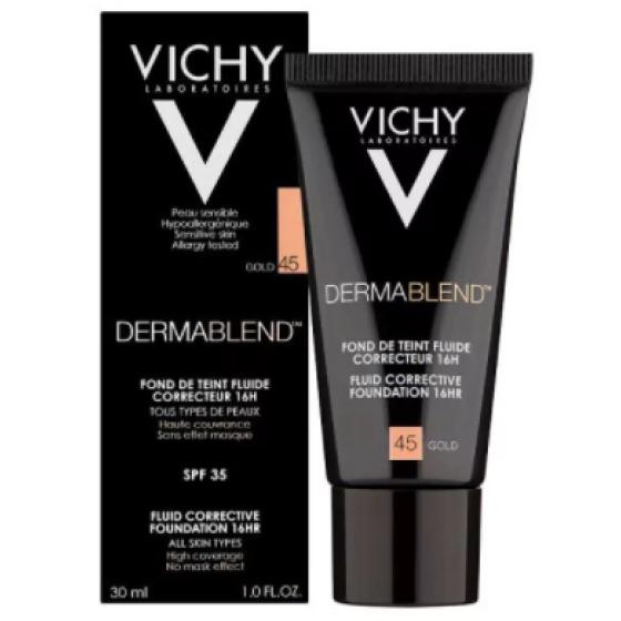 Vichy Dermablend Base Corretora Fluída - Tom 45 Dourado 30ml