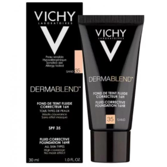 Vichy Dermablend Base Corretora Fluída - Tom 35 Areia  30ml