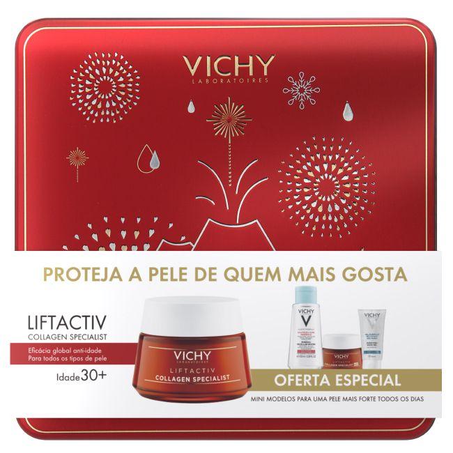 Vichy Liftactiv Collagen Specialist Creme 50 ml com Oferta de Collagen Specialist Creme de noite 15 ml + Pureté Thermale Água micelar 100 ml + Gel hidroalcoólico 50ml