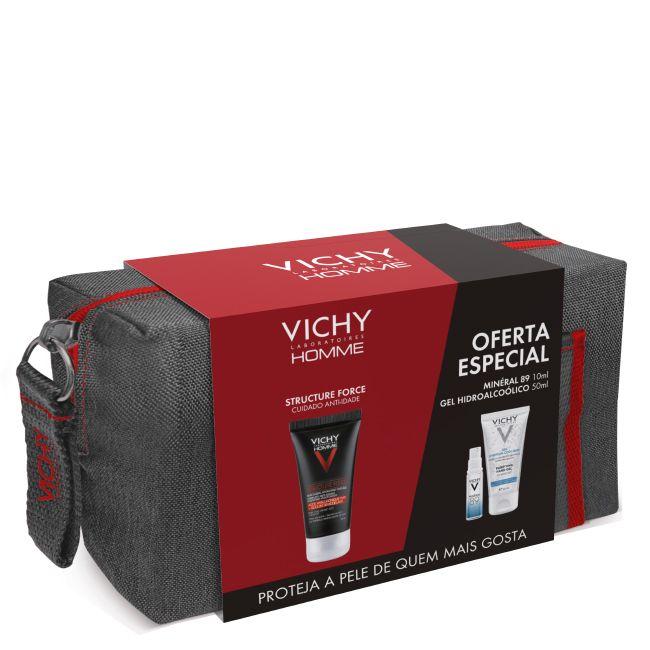 Vichy Homme Structure Force Cuidado anti-idade 50 ml com Oferta Minéral 89 Concentrado fortificante preenchedor 10 ml + Gel hidroalcoólico 50 ml + Bolsa