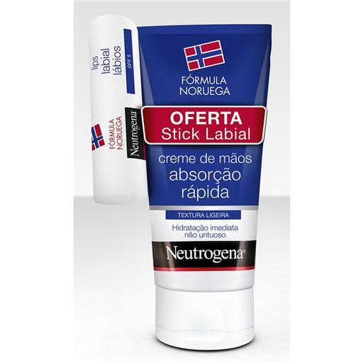 Neutrogena Pack Pack Creme de Mãos Textura Ligeira + OFERTA Stick Labial 75ml + 4.8 gr