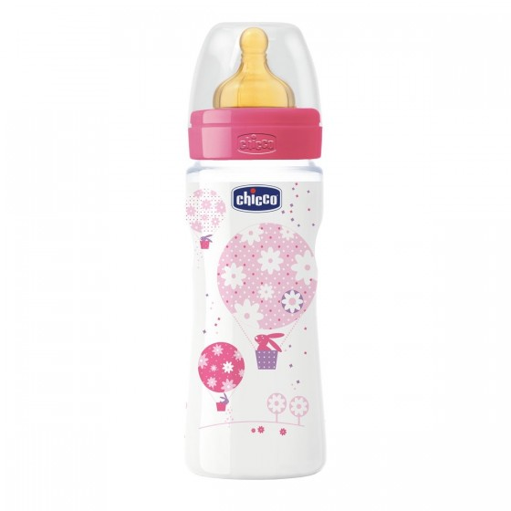 Chicco Well-Being Biberão Látex Rosa 4M+330 ml