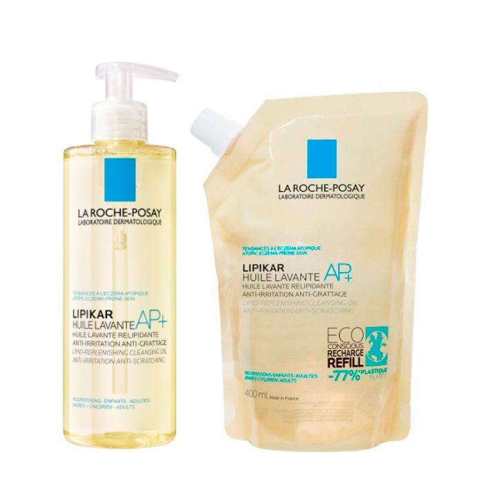 La Roche-Posay Lipikar Oleo Lavante AP+ Óleo relipidante 400 ml + Óleo relipidante Refill 400 ml com Oferta de 50% na 2ª Embalagem
