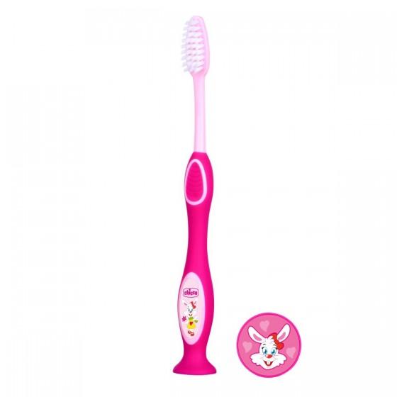 Chicco Escova de Dentes de Leite Rosa 3-6A