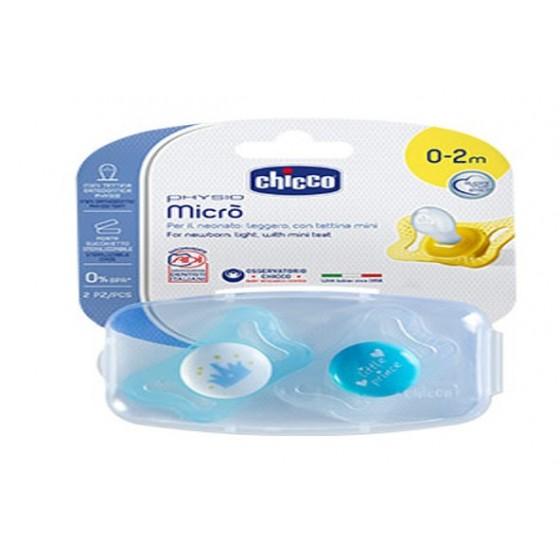 Chicco Physio Micro Chupeta Silicone Azul 0-2M X2